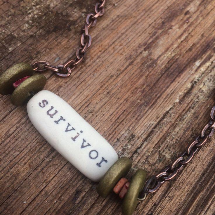 survivor necklace, survivor pendant, survivor jewelry, cancer survivor necklace, cancer survivor gift, breast cancer survivor, survivor by Bedotted on Etsy