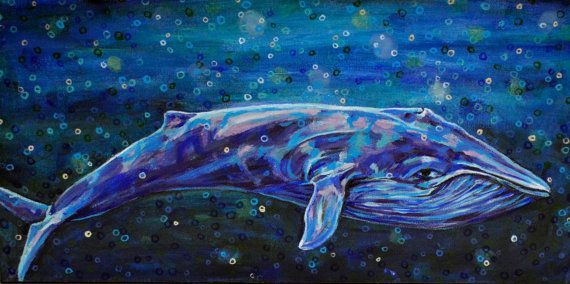 Original Acrylic Painting  Big Blue Whale by rachelledyer on Etsy
