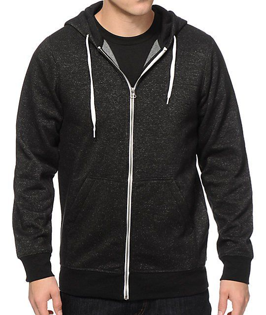 The Zine Hooligan speckled black zip up hoodie will instantly become your favorite hoodie because of the rad new details and speckle print. This super soft and durable guys zip up hooded sweatshirt features an adjustable drawstring hood with metal eyelets