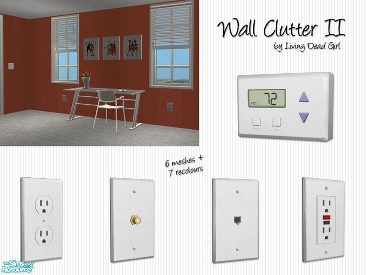 More useless wall clutter. Includes electrical outlet, GFCI outlet, coaxial cabl…