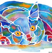Jo Lynch - another artist who does cool animal paintings. I love the white lines.Jo Lynch, Animal Painting, Calypso Cat, Interesting Artworks, Art Inspiration, Canvas Art, Cat Artworks, Painting Ideas, Lynch Watercolors