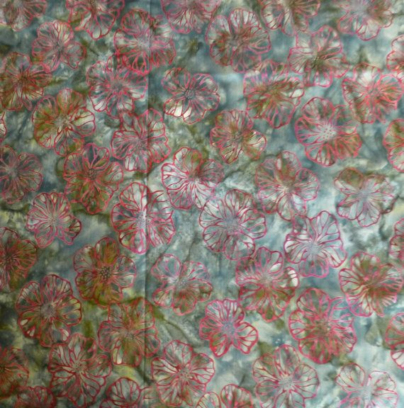 Robert Kaufman Batik, Red Flowers with Green Background, By the Yard 44/45 inches Wide