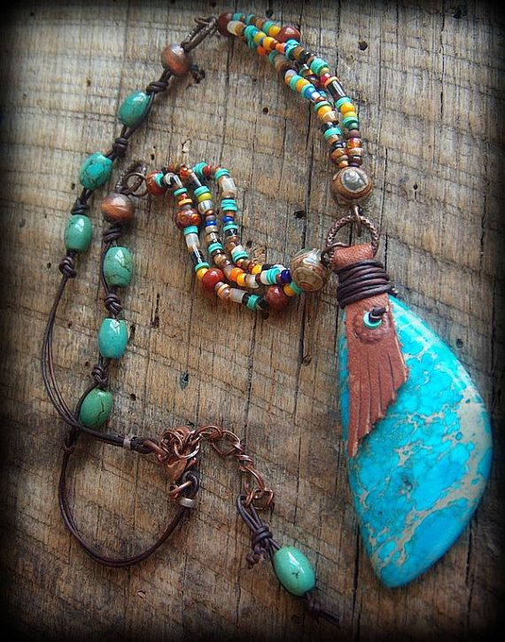 Jasper, Turquoise, African Beads and Glass Leather Beaded Necklace - lovely colours