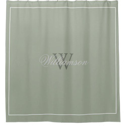 Hotel Style Desert Sage Green With Name Monogram Shower Curtain
