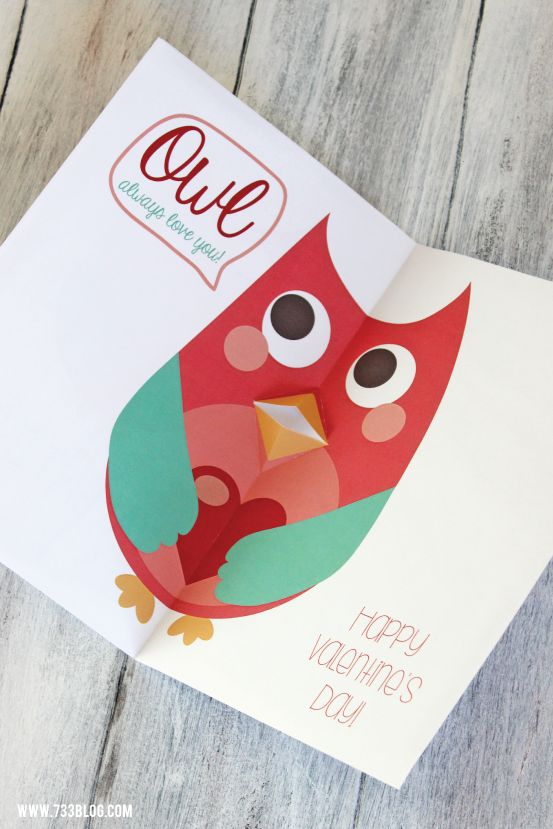Free Printable DIY Pop-Up Owl Valentine's Day Card