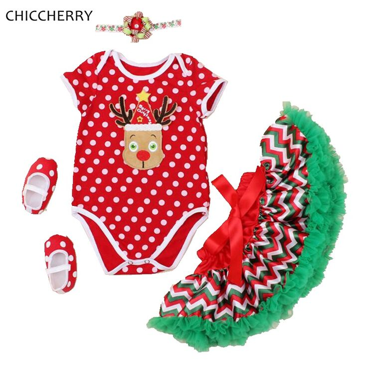 >> Click to Buy << Infant Christmas Costume Reindeer Red Bodysuit Lace Tutu Skirt Headband Shoes Baby Clothing Set Toddler Girl Christmas Outfits #Affiliate