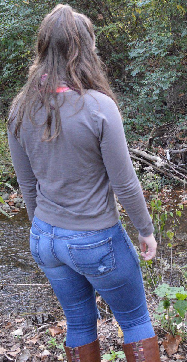 Girls Mit Engen Jeans