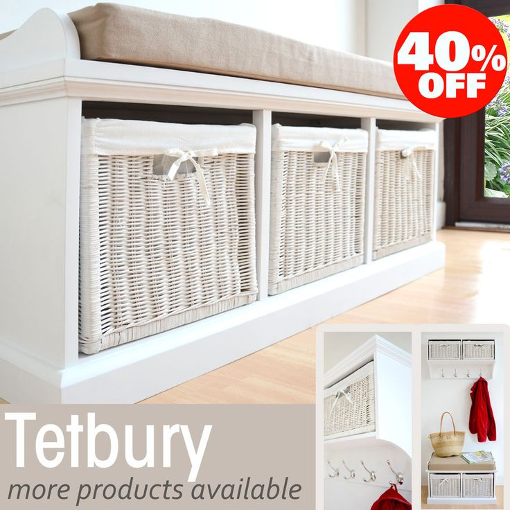 Tetbury Hallway Bench, White Hallway Storage Bench with cushion, Hanging shelf