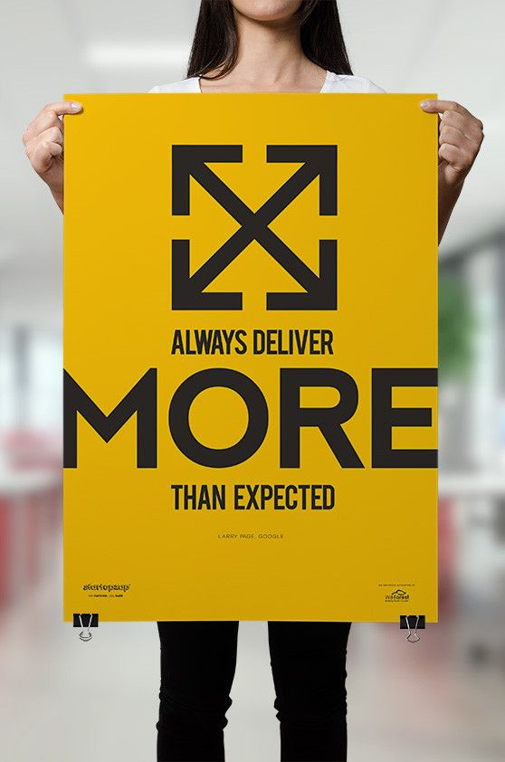 Always deliver more than expected from StartupZap.com | #motivational #inspirational #posters #quotes #business #startup