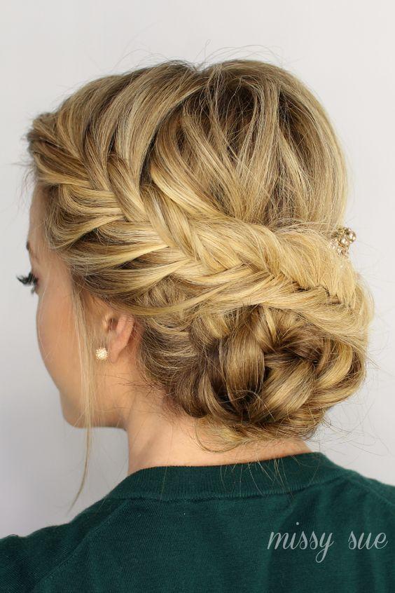 Fishtail braid hair idea for prom.: