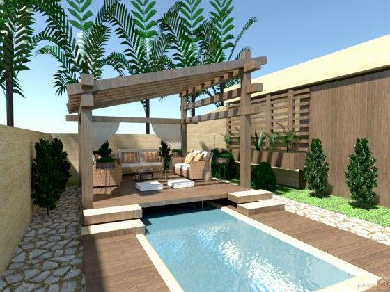 Dise o de terraza con aplicaci n patios pinterest ideas - Piscina pequena terraza ...