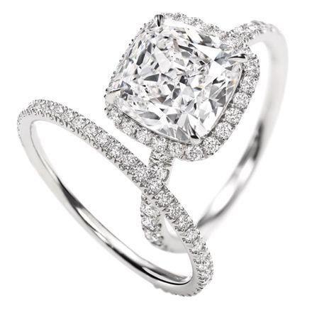Harry Winston: Cushion-Cut Micropavé Diamond Engagement Ring. 3.03 carats, in a micropavé platinum setting. Platinum band with 0.28 carats of micropavé diamonds.