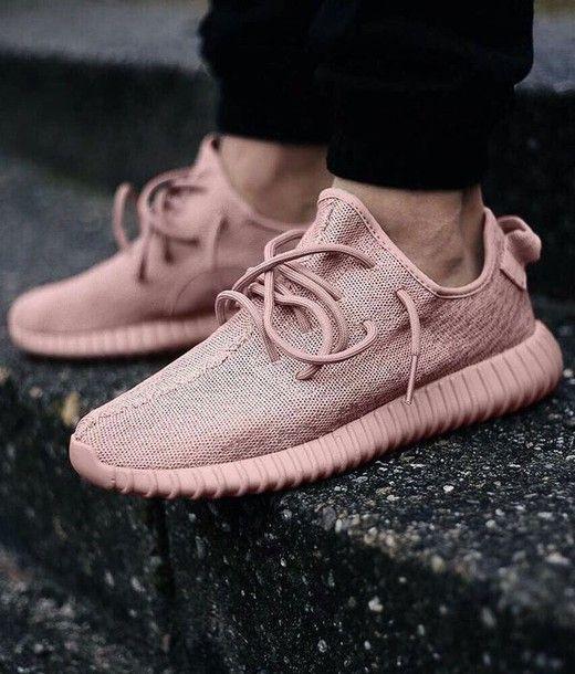 Shoes: girl, girly, girly wishlist, yeezy, pink, yeezy 350 boost, kanye west, sneakers, adidas, low top sneakers, pink sneakers, pastel sneakers, dusty pink - Wheretoget