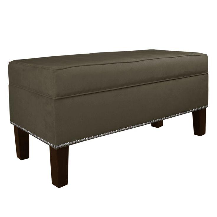 Skyline Furniture Animal Instinct Nail Button Storage Bench - Velvet Pewter - 348NB-PWVLVPWT