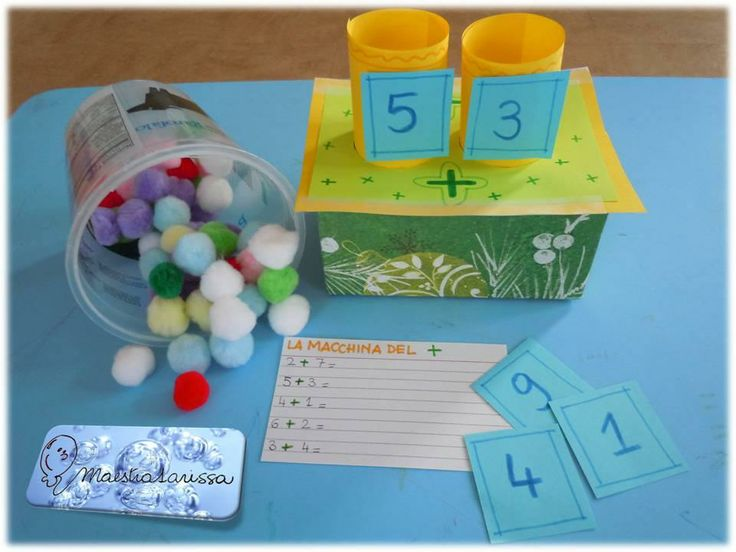 MATH FACTS MACHINE - made with a box, construction paper and pompom. Very fun way for the kids to actually see what sum means