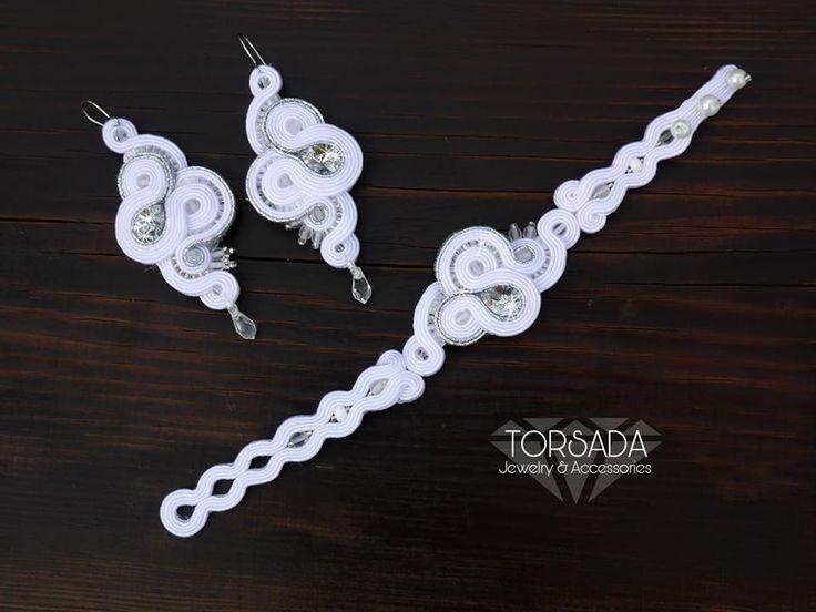 TORSADA - komplet ślubny sutasz biały bransoletka długie kolczyki/ wedding set soutache dangle earrings bracelet