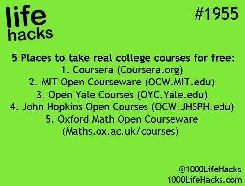 Life hack - college courses for free