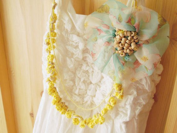 Statement bohemian necklace with a handmade crochet flower, seed and ceramic beads and handknitted bobbles -- Yellow and Turquoise Floral 1