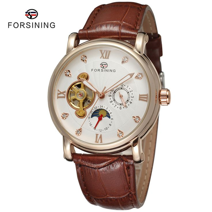 Find More Mechanical Watches Information about 5 Colors FORSINING Fashion Men Clock Relojes Relogio Masculinos Brown Leather Moon Phase Gold Mens Automatic Mechanical Watches,High Quality gold tourmaline,China gold hawk watch Suppliers, Cheap gold fungus from YIKOO Watches Store on Aliexpress.com