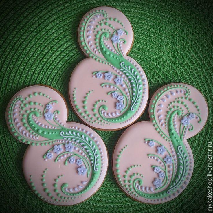Купить Пряничная восьмерка - бледно-розовый, 8марта, пряники, пряничная восьмерка, пряники козули