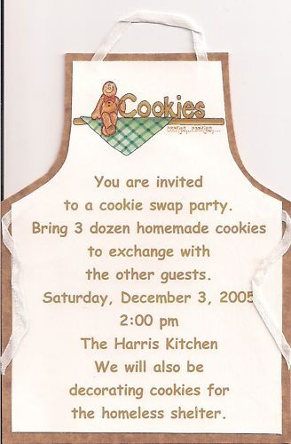 Christmas Cookie Swap Invitation - This would be a great idea for friends from different neighborhoods to make neighbor treat plates.