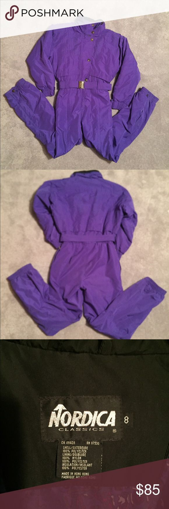 Women's vintage NORDICA classic ski snowsuit sz 8 Stay Warm in the slopes with this Very stylish and vintage Zip up Women's ski snowsuit! Belted. Purple. Gently worn. Looks brand new. Embroidered on front and back. Cute buttons on front and sleeves and legs. Zip legs for boots under the buttons. Zip front and button flap. Stand up collar. Zip outside pockets. Two inside pockets , one with velcro. Polyester/nylon . Machine washable. Size 8 Nordica Jackets & Coats