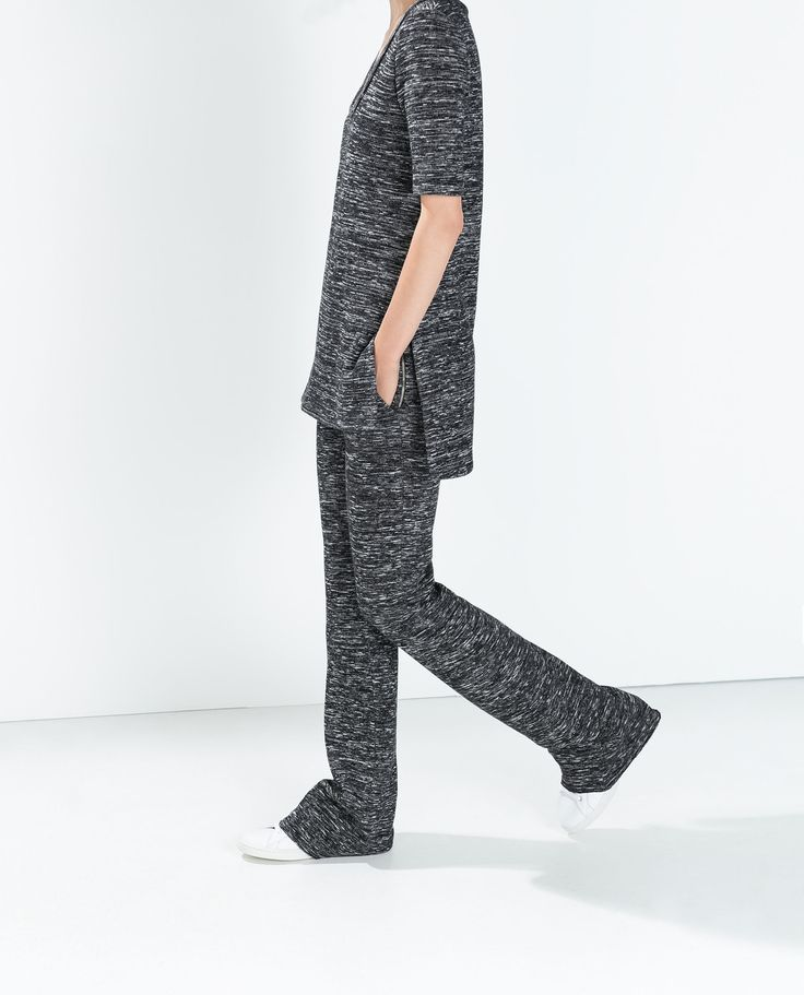 Image 3 of KNIT FLARED TROUSERS from Zara