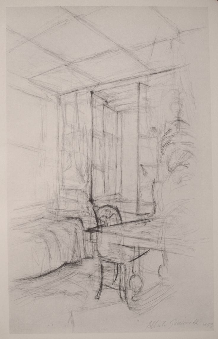 Giacometti - a 2 pt. perspective drawing of a room interior