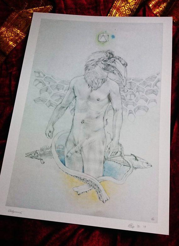 "Small Art Print ""Gilgamesh"" by Chris Richford - Unframed Print surreal art male nude art exotic art strange art erotic art print watercolour"