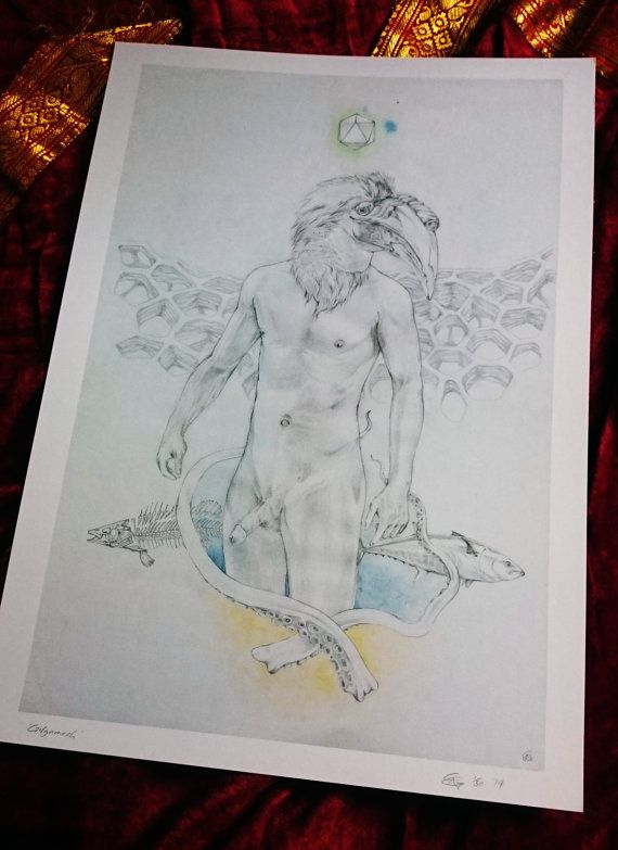 "Small Art Print ""Gilgamesh"" by Chris Richford - Unframed Print surreal art male nude art exotic art strange art erotic art print watercolour"