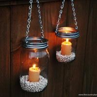 how to make hanging mason jar tea light holders