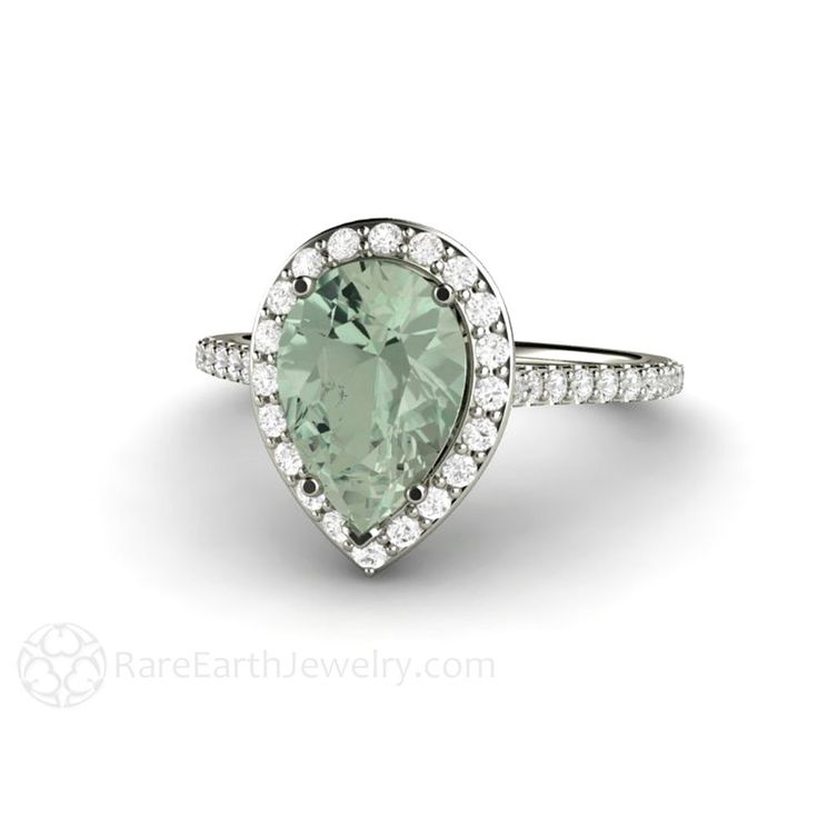 Rare Earth Jewelry Green Amethyst Engagement Ring Pear Cut