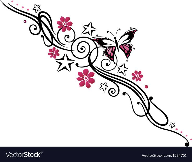 Tribal flower butterfly tattoo style vector image on
