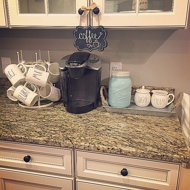 Instagram user coastalcraftymama sets up her Keurig coffee corner. Get yourself a Keurig brewer to enjoy a cup of coffee, tea, hot cocoa, or iced beverage all at the touch of a button and at the convenience of your own kitchen.