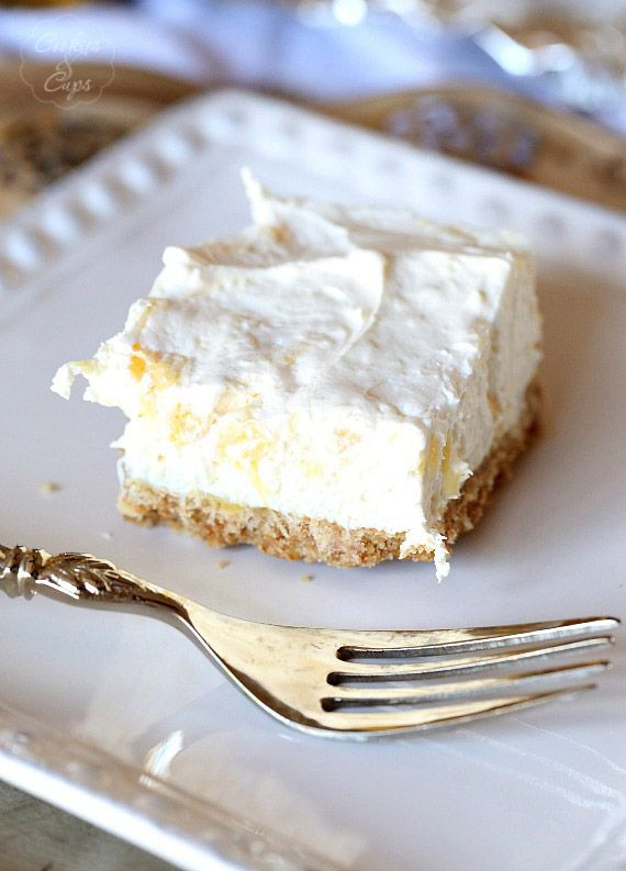 Potluck Cheesecake Dessert. A simple dessert to make for get togethers and parties...so easy to make and everyone will love it!  Made with cream cheese, crushed pineapple, powdered sugar and cool whip