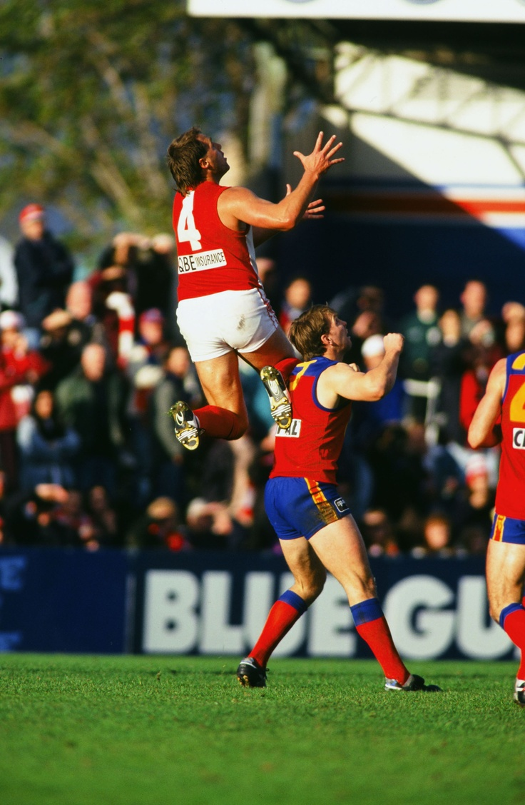 #8 - Tony Lockett kicks 16 goals v Fitzroy, 1995  In his 199th game, Lockett and the Swans travelled to the Western Oval to face the Lions in windy conditions that weren't conducive to accuracy in front of goal.  Read more here - http://bit.ly/JoTSJU