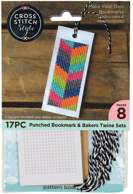 Cross Stitch Style Bookmarks With Bakers Twine - Cross Stitch Kit. Make beautiful bookmarks with this fun kit! This package contains eight 4 3/4 x 2 pre-punched