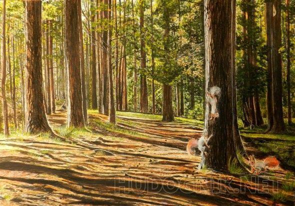 В лесу Летний пейзаж, темпера, холст на картоне.