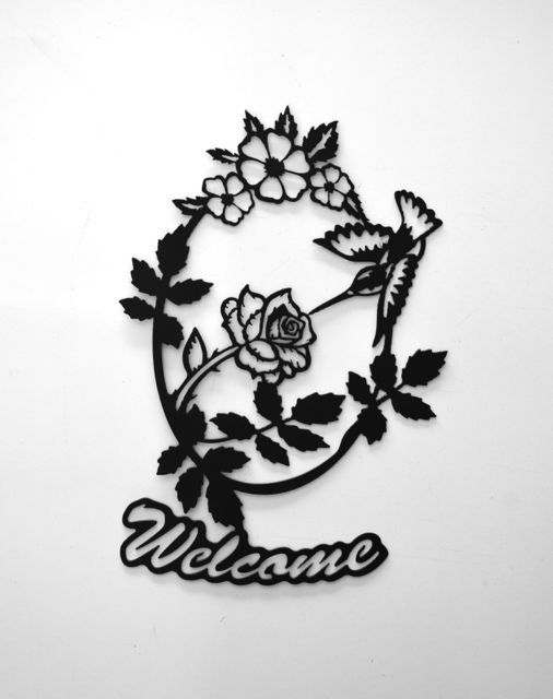 Hey, I found this really awesome Etsy listing at https://www.etsy.com/listing/153119401/hummingbird-and-rose-welcome-metal-sign