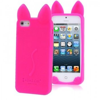 Pink Cat Style Silicone iPhone Case