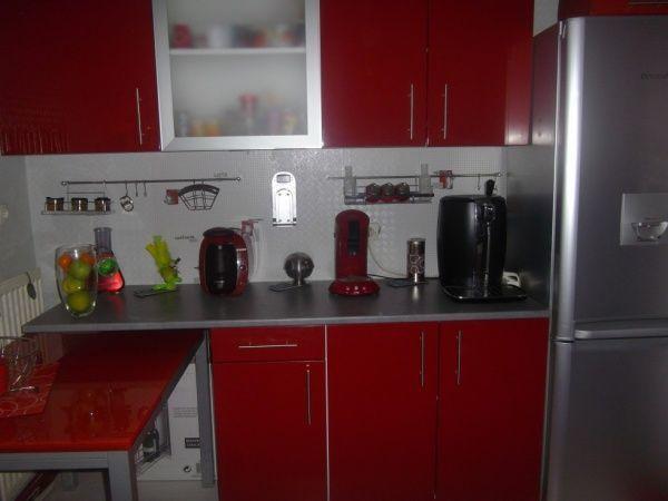 Cuisine Gris Rouge Moderne Kitchen Remodel Home Decor Kitchen Cabinets