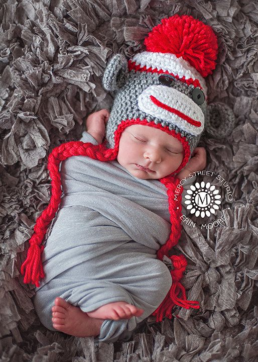 Sock Monkey Hat - Baby Boy Sock Monkey on Etsy, $25.00 >> This is an ADORABLE picture!