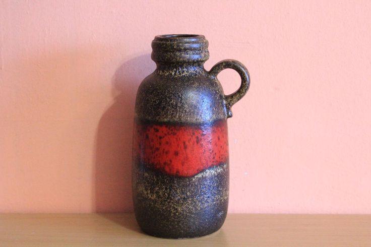 Vintage Germany Pottery 413 - 26 Jug Scheurich Ceramic Vase Pitcher Fat Lava Bottle Decanter by Grandchildattic on Etsy