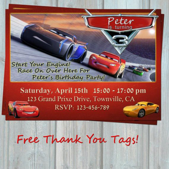 Cars 3 Birthday Invitation MCQueen By PorsyPartyPrintable