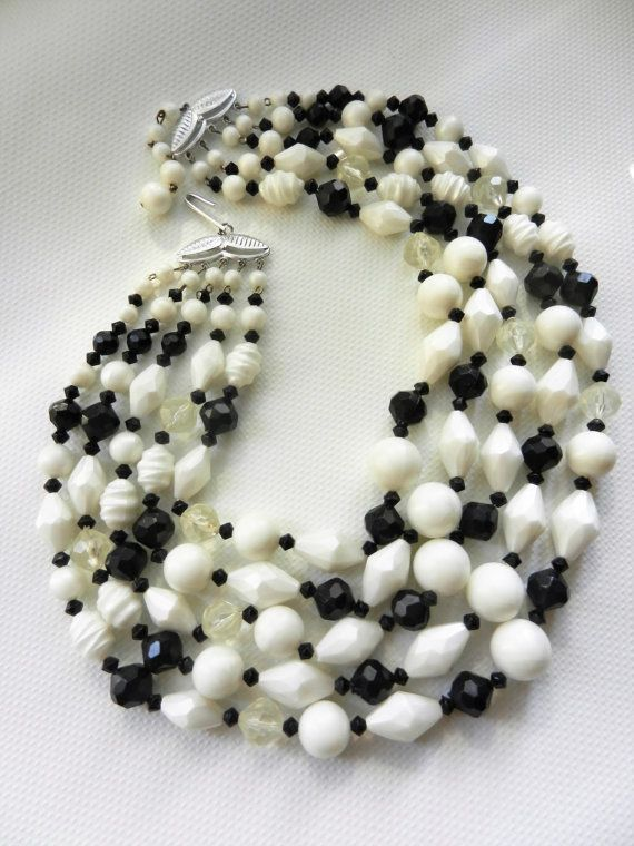 Fab W.GERMANY five strands cascade black and white by RAKcreations