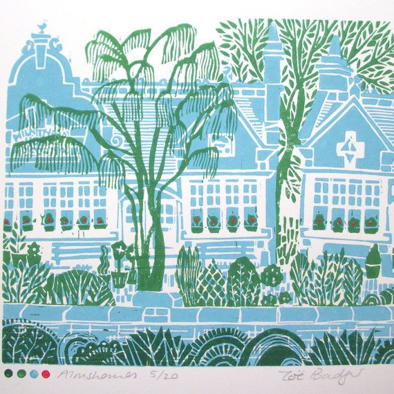 Almshouses linocut print ref:142.    An original hand printed limited edition lino cut print in four colours.    This is the view that I look out at