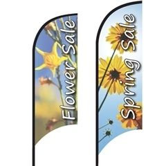 Shark Fin Advertising Flag...great for beach, grass, and can be used indoors or on hard surfaces with the optional cross base stand. More info on this and other styles can be found here: http://www.nextlevelcustomsigns.com/Feather-Banner-p/fb-sharkfin.htm