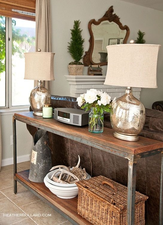 sofa table distressed wood and metal love the mercury glass lamps