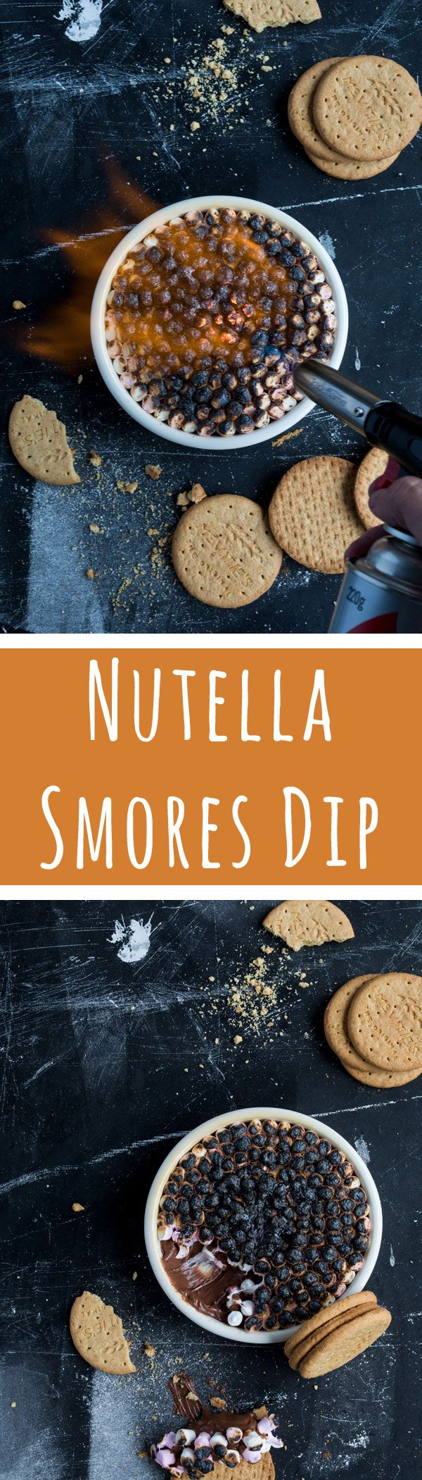 Nutella Smores Dip... 3 ingredients never tasted so good! For the recipe, visit www.dollarsweets.com/recipes