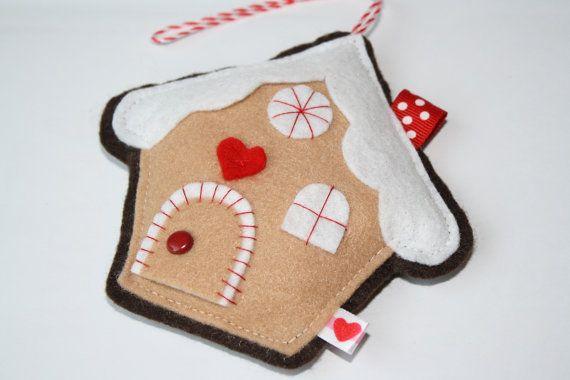 Gingerbread House FELT Handmade Christmas Ornament by RainbowFelt, $9.50